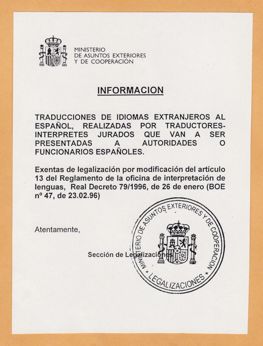Info MAEC Legalizacion Traducciones Oficiales